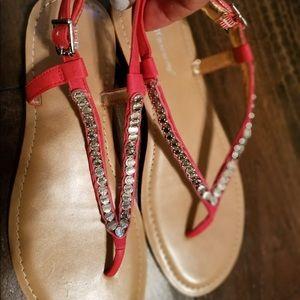 Bcbgeneration studded red sandals 7.5